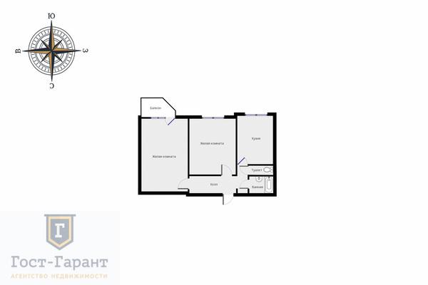 Адрес: Академика Бакулева улица, дом 12, агентство недвижимости Гост-Гарант, планировка: П3, комнат: 2. Фото 10