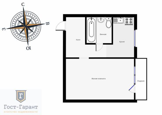 Адрес: Таллинская улица, дом 2, агентство недвижимости Гост-Гарант, планировка: П-44, комнат: 1. Фото 10
