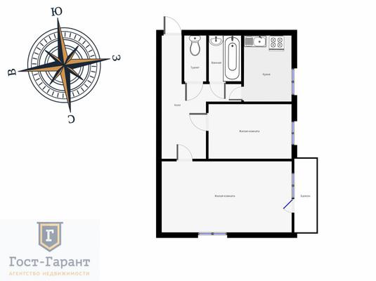Адрес: Зеленый проспект, дом 39к2, агентство недвижимости Гост-Гарант, планировка: И-511, комнат: 2. Фото 11