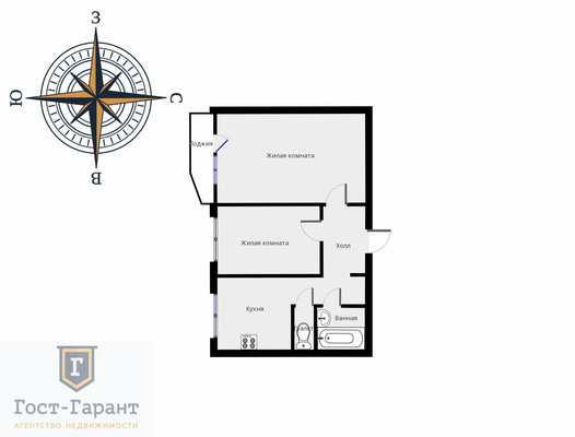 Адрес: улица Грекова, дом 9, агентство недвижимости Гост-Гарант, планировка: П-44Т, комнат: 2. Фото 14