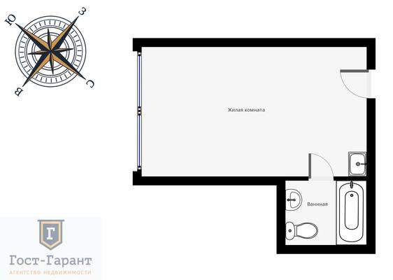 Адрес: г. Химки, Московская улица, дом 21А, агентство недвижимости Гост-Гарант, планировка: Индивидуальный проект , комнат: 1. Фото 11