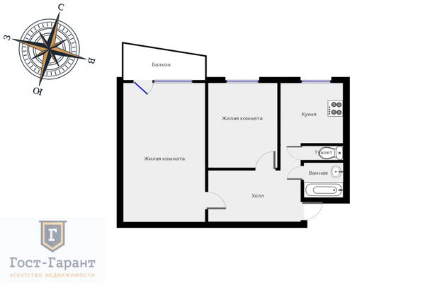 Адрес: Дубнинская улица, дом 6к1А, агентство недвижимости Гост-Гарант, планировка: п-49, комнат: 2. Фото 11