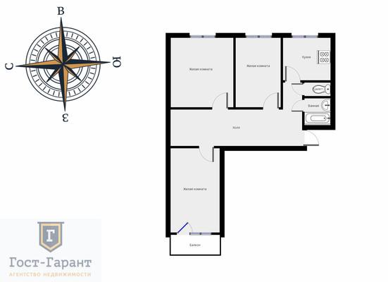 Адрес: Яна Райниса бульвар, дом 2к1, агентство недвижимости Гост-Гарант, планировка: п49, комнат: 1. Фото 7
