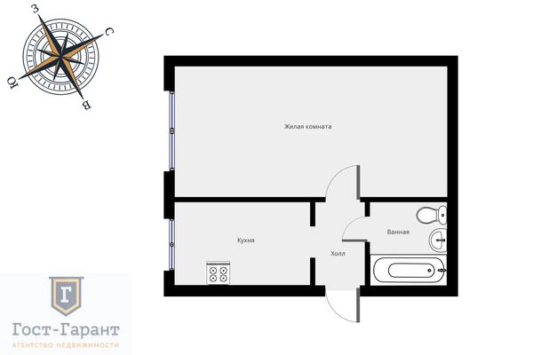 Адрес: Алабяна улица, дом 3к2, агентство недвижимости Гост-Гарант, планировка: мм-1, комнат: 1. Фото 10