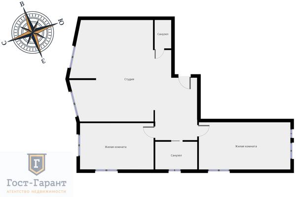 Адрес: Березовая аллея, дом 17к2, агентство недвижимости Гост-Гарант, планировка: индивидуальный проект, комнат: 3. Фото 21