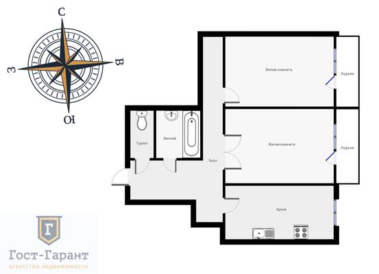 Адрес: Шокальского проезд, дом 3к2, агентство недвижимости Гост-Гарант, планировка: Индивидуальный проэкт, комнат: 2. Фото 12