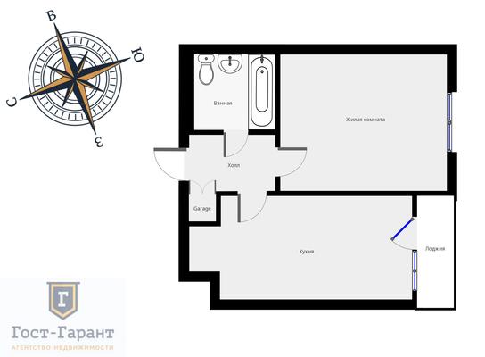 Адрес: Красная Пресня улица, дом 23Б , агентство недвижимости Гост-Гарант, планировка: Индивидуальный проект , комнат: 1. Фото 8