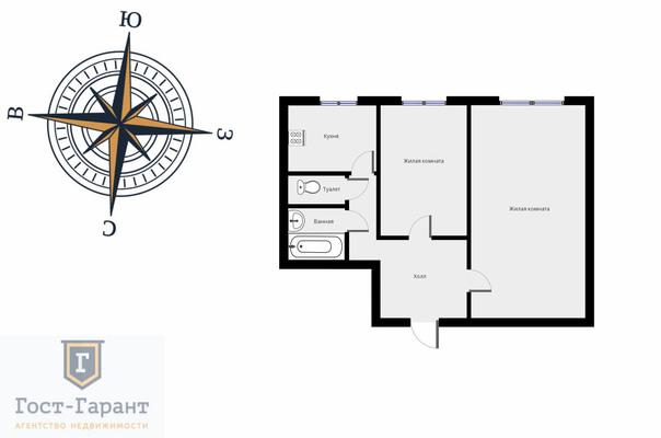 Адрес: Востряковский проезд, дом 11к1, агентство недвижимости Гост-Гарант, планировка: II-49, комнат: 2. Фото 10