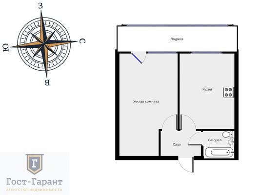 Адрес: Чечулина улица, дом 6, агентство недвижимости Гост-Гарант, планировка: П-57, комнат: 1. Фото 10