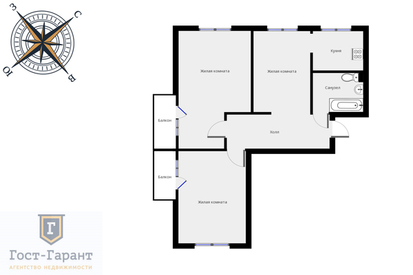 Адрес: Отрадная улица, дом 18В, агентство недвижимости Гост-Гарант, планировка: п 49, комнат: 3. Фото 16