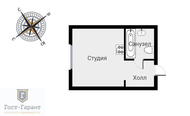 Адрес: Сельскохозяйственная улица, 35А, агентство недвижимости Гост-Гарант, планировка: Индивидуальный проект, комнат: 1. Фото 9