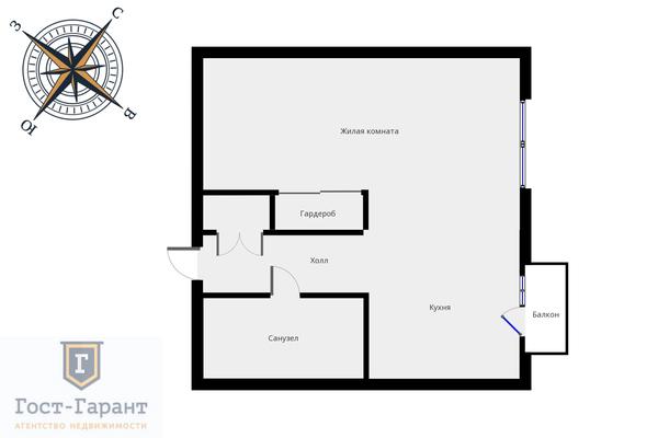 Адрес: г. Химки, Набережный проезд, дом 22, агентство недвижимости Гост-Гарант, планировка: индивидуальный проект , комнат: 1. Фото 14