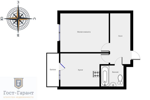 Адрес: Долгопрудная аллея, дом 15к5, агентство недвижимости Гост-Гарант, планировка: Индивидуальный проект , комнат: 1. Фото 12