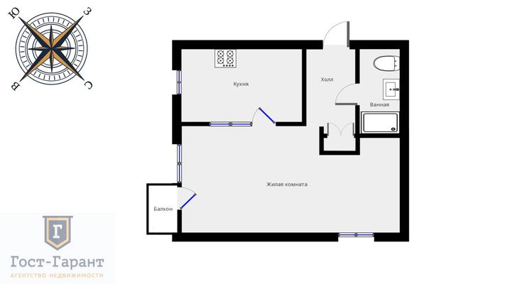 Адрес: Ферсмана улица, дом 1к2, агентство недвижимости Гост-Гарант, планировка: Индивидуальный проект , комнат: 1. Фото 12