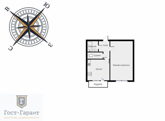 Адрес: Петрозаводская улица, дом 3, агентство недвижимости Гост-Гарант, планировка: КОПЭ, комнат: 1. Фото 11