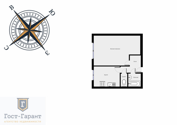 Адрес: Коломенская улица, дом 9, агентство недвижимости Гост-Гарант, планировка: П-30, комнат: 1. Фото 9