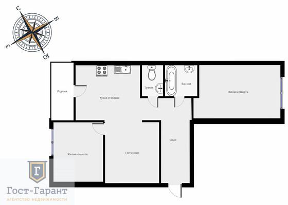 Адрес: Татьянин парк улица, дом 13к1, агентство недвижимости Гост-Гарант, планировка: Индивидуальный проект, комнат: 3. Фото 13