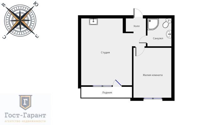 Адрес: г. Котельники, ул. Сосновая, дом 1к3, агентство недвижимости Гост-Гарант, планировка: индивидуальный проект , комнат: 1. Фото 9