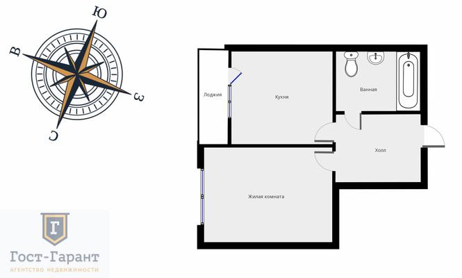 Адрес: Цимлянская улица, дом 3к1, агентство недвижимости Гост-Гарант, планировка: Индивидуальный проект, комнат: 1. Фото 9