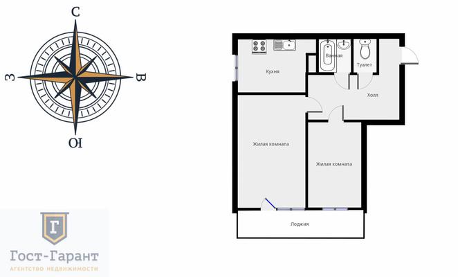 Адрес: Варшавское шоссе, дом 70к3, агентство недвижимости Гост-Гарант, планировка: П-68, комнат: 2. Фото 14