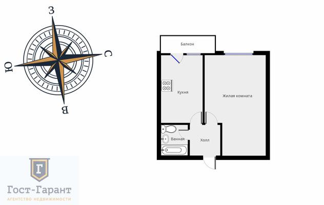 Адрес: Федеративный проспект, дом 32к2, агентство недвижимости Гост-Гарант, планировка: П-18/12, комнат: 1. Фото 10
