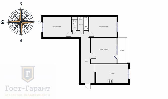 Адрес: Бутово Парк жилой комплекс, дом 14, агентство недвижимости Гост-Гарант, планировка: 111М, комнат: 3. Фото 11