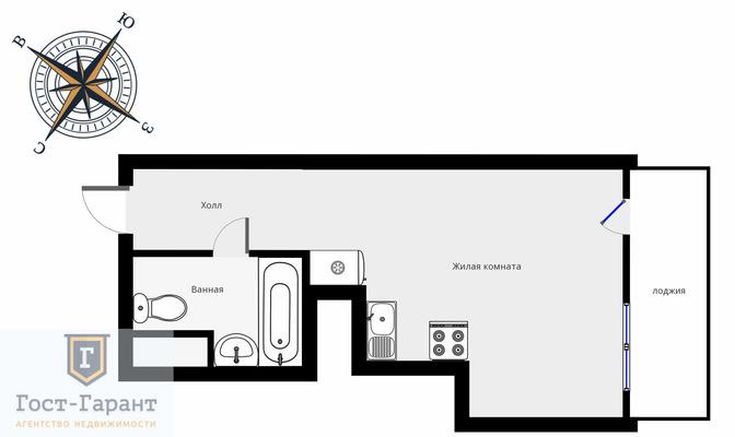 Адрес: Бибиревская улица, дом 4А, агентство недвижимости Гост-Гарант, планировка: Индивидуальный проект , комнат: 1. Фото 8