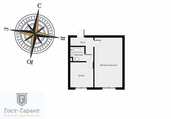 Адрес: Шипиловская улица, дом 34к2, агентство недвижимости Гост-Гарант, планировка: II-49, комнат: 1. Фото 9