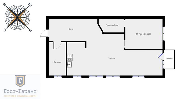 Адрес: улица Воронцово Поле дом 5-7с8, агентство недвижимости Гост-Гарант, планировка: индивидуальный проект, комнат: 2. Фото 15