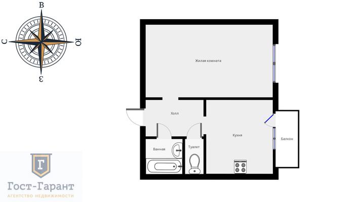 Адрес: Верхние поля улица, дом 36к2, агентство недвижимости Гост-Гарант, планировка: копэ, комнат: 1. Фото 10