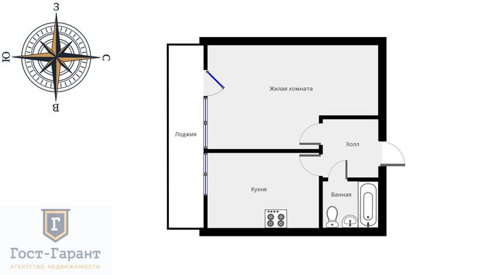 Адрес: Заревый проезд, дом 10, агентство недвижимости Гост-Гарант, планировка: И-522А, комнат: 1. Фото 10