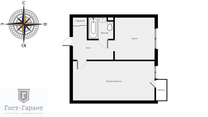 Адрес: Крылатские холмы улица, дом 24к2, агентство недвижимости Гост-Гарант, планировка: Пд3 (И-1233), комнат: 1. Фото 9