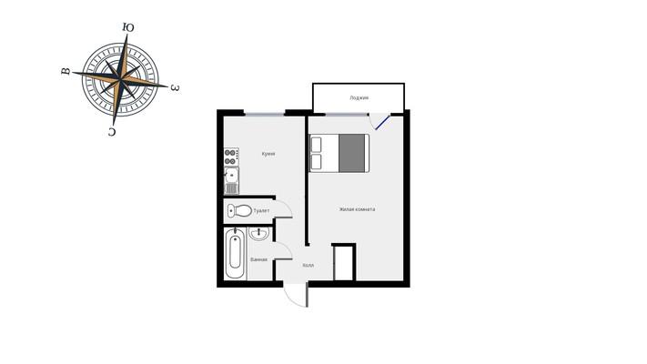 Адрес: Перервинский бульвар, дом 27к2, агентство недвижимости Гост-Гарант, планировка: П46М, комнат: 1. Фото 15