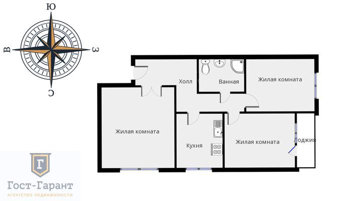 Адрес: Академика Бочвара улица, дом 5к2, агентство недвижимости Гост-Гарант, планировка: П30, комнат: 3. Фото 17