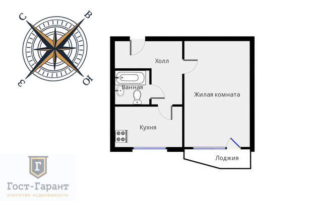 Адрес: Рождественская улица, дом 34, агентство недвижимости Гост-Гарант, планировка: П-44Т, комнат: 1. Фото 9