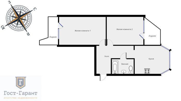 Адрес: Цюрупы улица, дом 6, агентство недвижимости Гост-Гарант, планировка: П44Т, комнат: 2. Фото 16