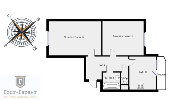Адрес: Коломенская улица, дом 12к1, агентство недвижимости Гост-Гарант, планировка: Индивидуальный проект, комнат: 2. Фото 12