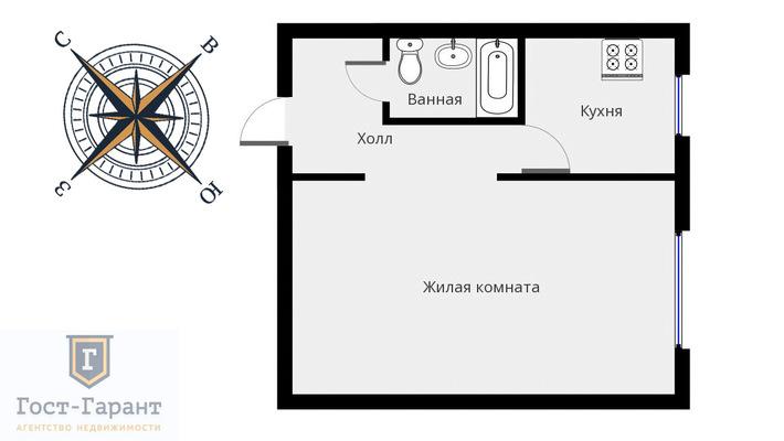 Адрес: Зарайская улица, дом 35, агентство недвижимости Гост-Гарант, планировка: П-18, комнат: 1. Фото 9