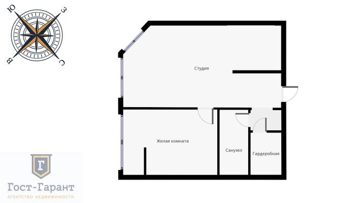 Адрес: Академика Опарина улица, дом 4к1, агентство недвижимости Гост-Гарант, планировка: индивидуальный проект, комнат: 1. Фото 13