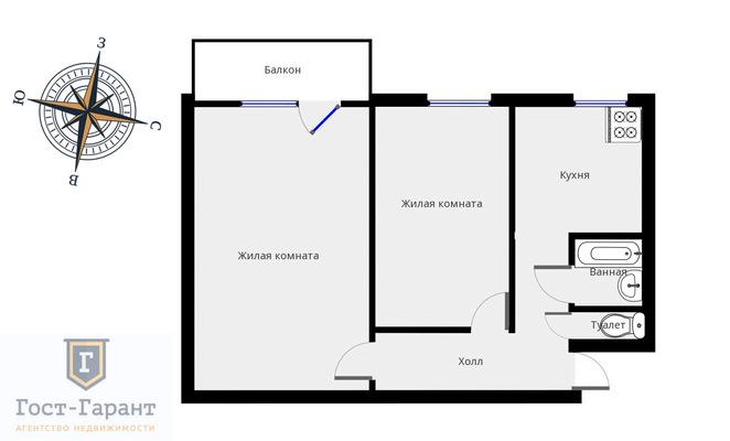 Адрес:  Просторная улица, дом 6, агентство недвижимости Гост-Гарант, планировка: II-29, комнат: 2. Фото 11