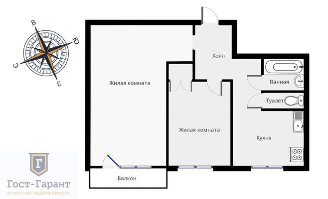 Адрес: Чертановская улица, дом 20к1, агентство недвижимости Гост-Гарант, планировка: и 209 а, комнат: 2. Фото 12