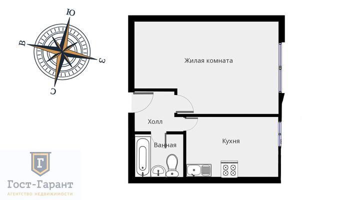 Адрес: Алексея Дикого улица, дом 7к2, агентство недвижимости Гост-Гарант, планировка: II-18/12, комнат: 1. Фото 8