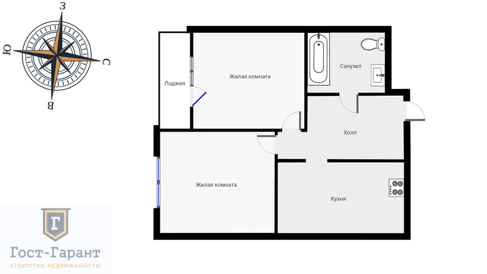 Адрес: Серебрякова проезд, дом 11к1, агентство недвижимости Гост-Гарант, планировка: Индивидуальный проект ЖК Silver, комнат: 2. Фото 12