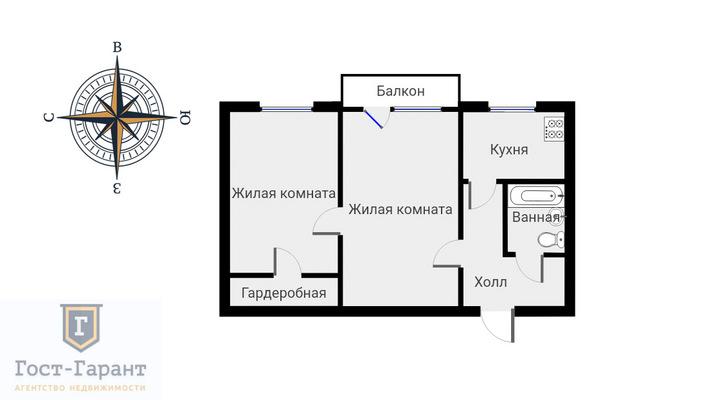 Адрес: Симоновский Вал улица, дом 16к2, агентство недвижимости Гост-Гарант, планировка: П-18, комнат: 2. Фото 12
