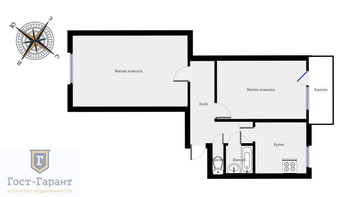 Адрес: Новопетровская улица, дом 16А, агентство недвижимости Гост-Гарант, планировка: П-29, комнат: 2. Фото 11