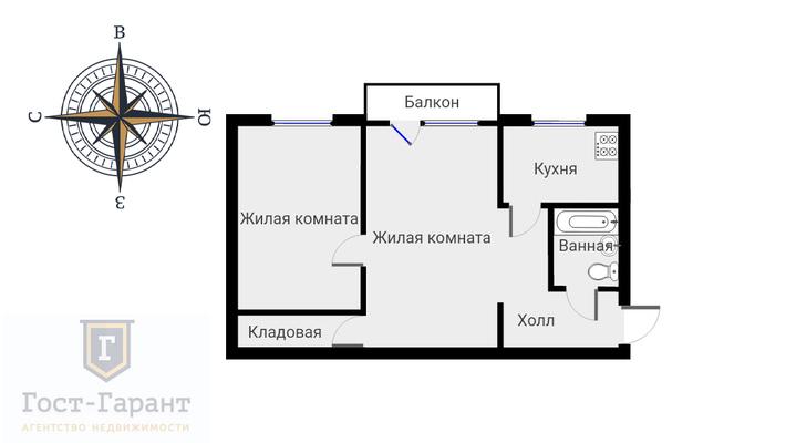 Адрес: Варшавское шоссе, дом 90к1, агентство недвижимости Гост-Гарант, планировка: П-46, комнат: 2. Фото 10