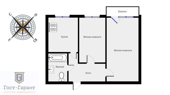 Адрес: Куусинена улица, дом 6к8, агентство недвижимости Гост-Гарант, планировка: П-3, комнат: 2. Фото 12