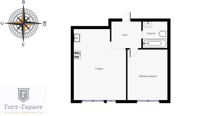 Адрес: г. Химки, Совхозная улица, дом 15, агентство недвижимости Гост-Гарант, планировка: индивидуальный проект , комнат: 1. Фото 12