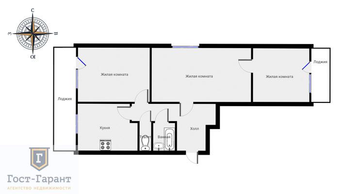 Адрес: Стремянный переулок, дом 21, агентство недвижимости Гост-Гарант, планировка: И-209А, комнат: 3. Фото 15