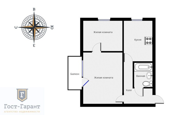 Адрес: Пырьева улица, дом 8, агентство недвижимости Гост-Гарант, планировка: П-18, комнат: 2. Фото 13
